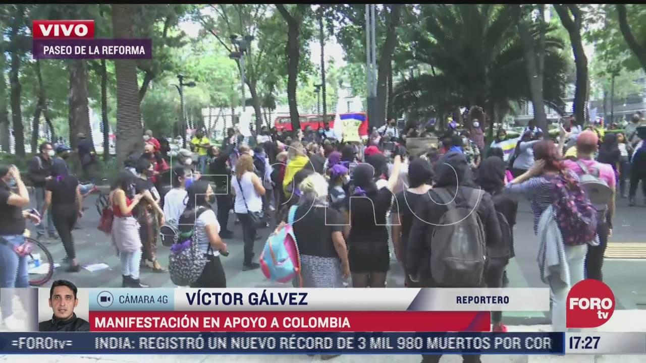realizan manifestacion en apoyo a colombia en cdmx