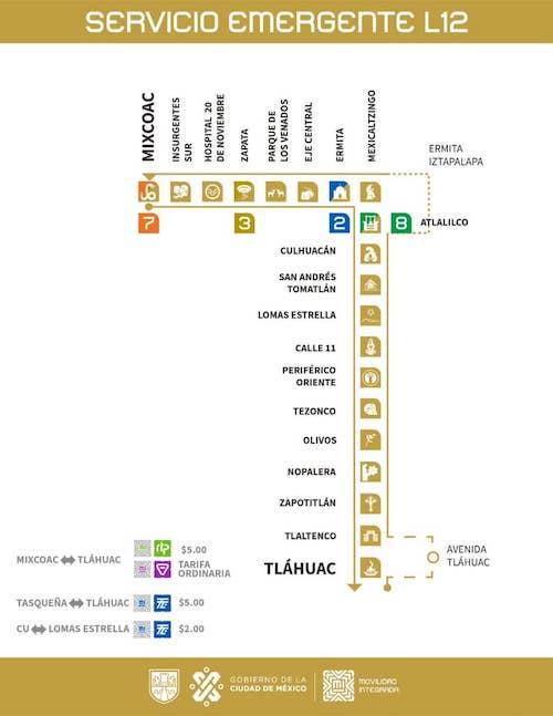 Rutas y horarios alternativos para el recorrido Tláhuac-Mixcoac