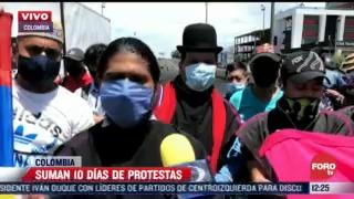 suman 10 dias de protestas en colombia