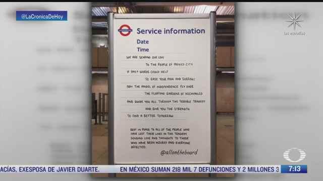 trabajadores del metro de londres envian mensaje de solidaridad a mexico