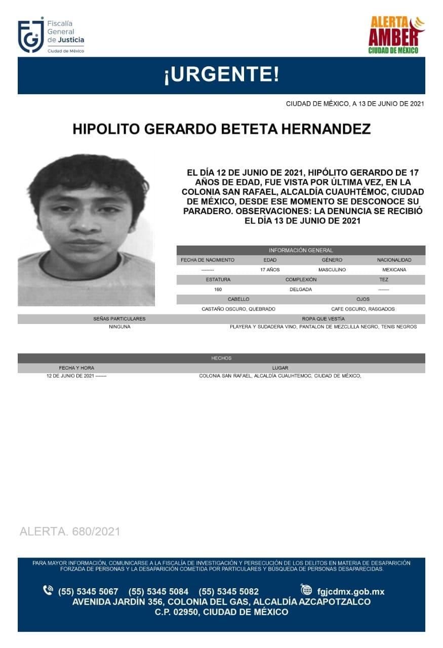 Activan Alerta Amber para localizar a Hipólito Gerardo Beteta Hernández