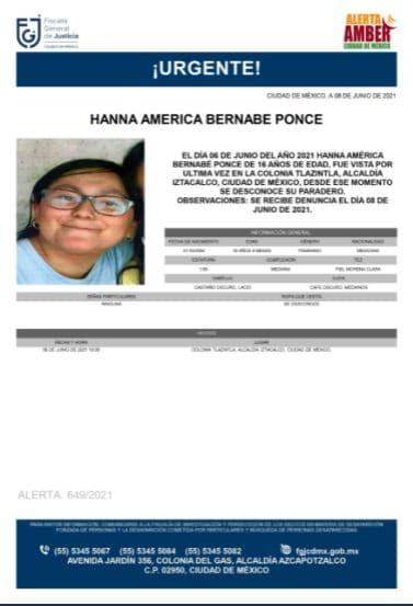 Activan Alerta Amber para localizar a Hanna América Bernabe Ponce