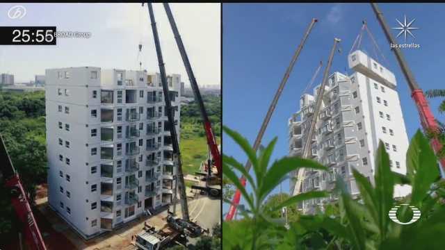 china construye edificio en tiempo record