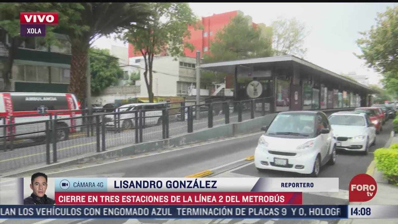 cierran tres estaciones de la linea 2 del metrobus por mantenimiento