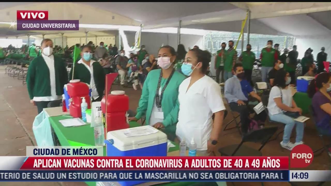 continua vacunacion de adultos entre 40 y 49 anos en coyoacan