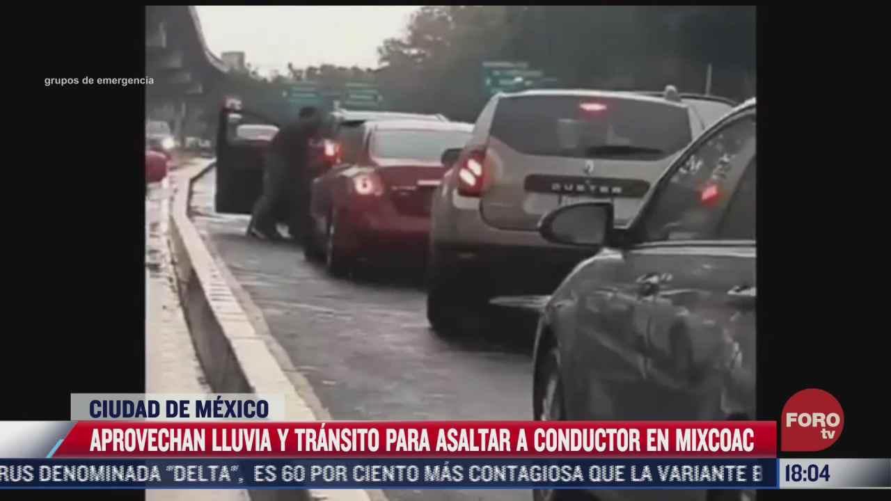 criminales aprovechan lluvia y transito para asaltar en mixcoac