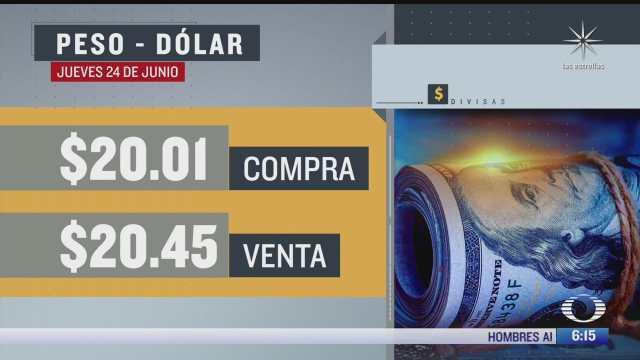 el dolar se vendio en 20 45 en la cdmx del 24 junio