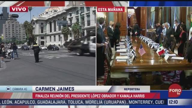 finaliza reunion de kamala harris y amlo en palacio nacional