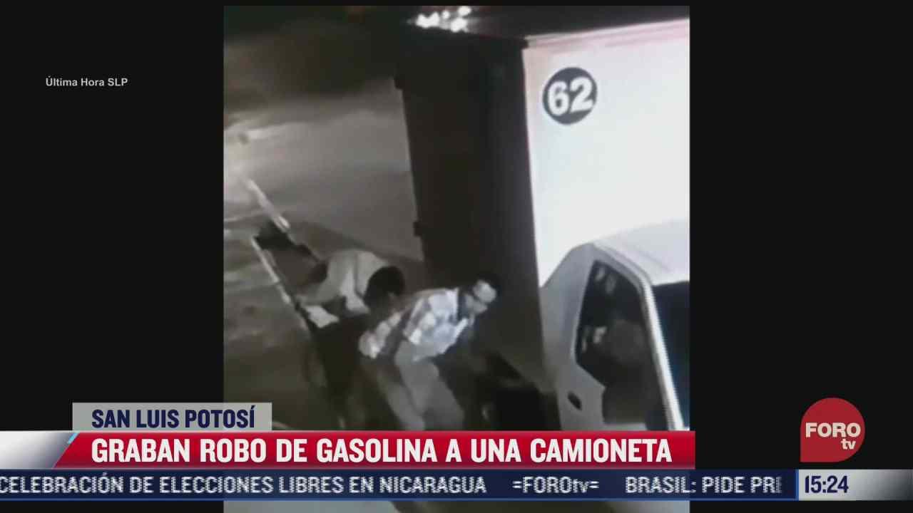 graban robo de gasolina a una camioneta en san luis potosi