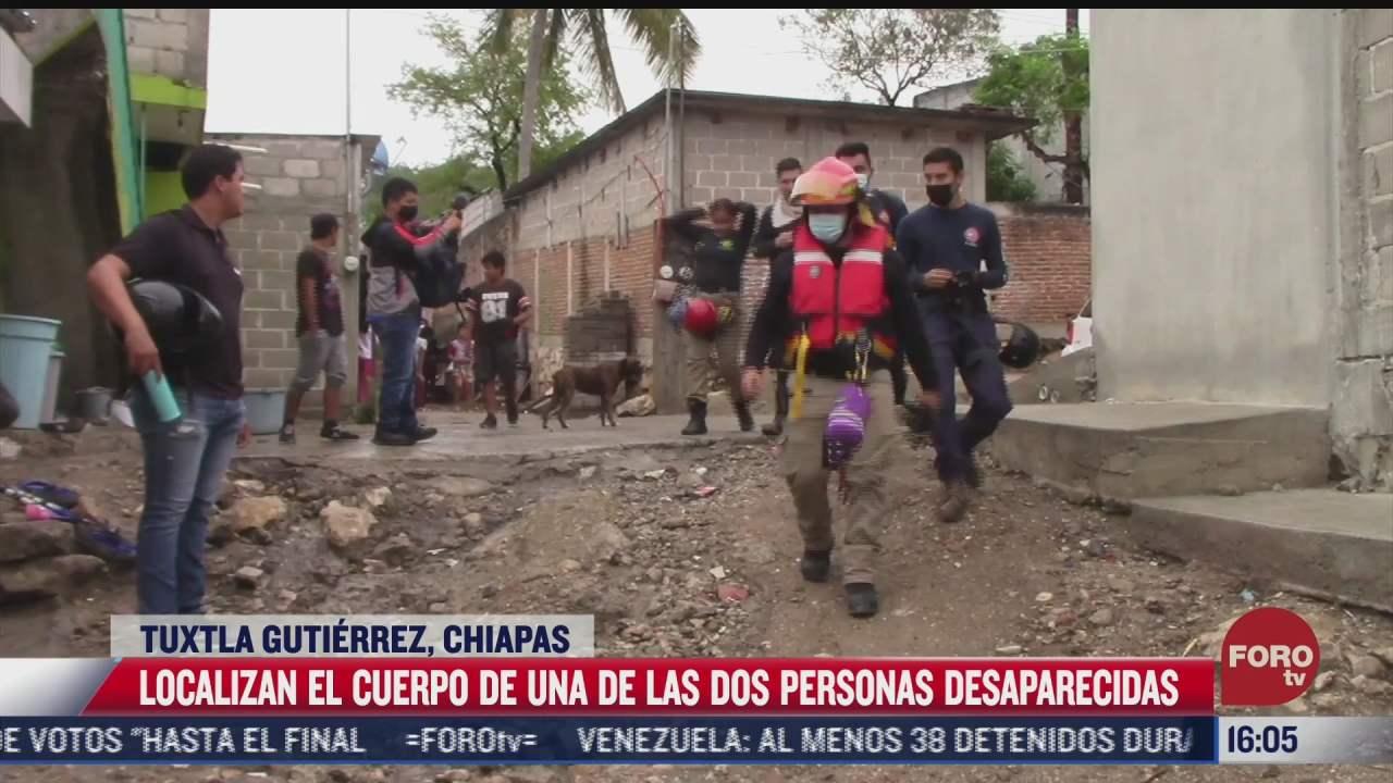 localizan cuerpo de uno de los dos desaparecidos en chiapas tras lluvias