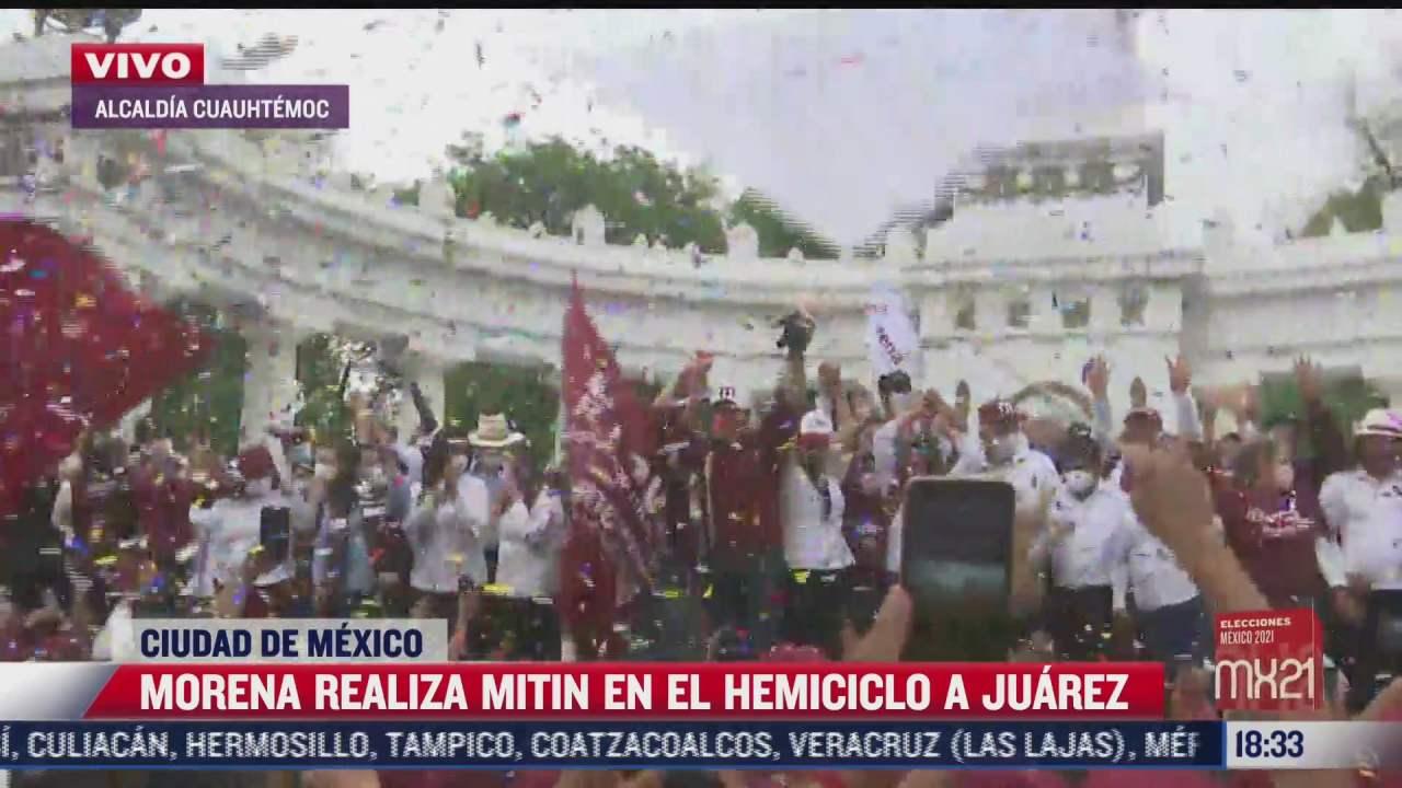 militantes y simpatizantes de morena realizan mitin en avenida juarez