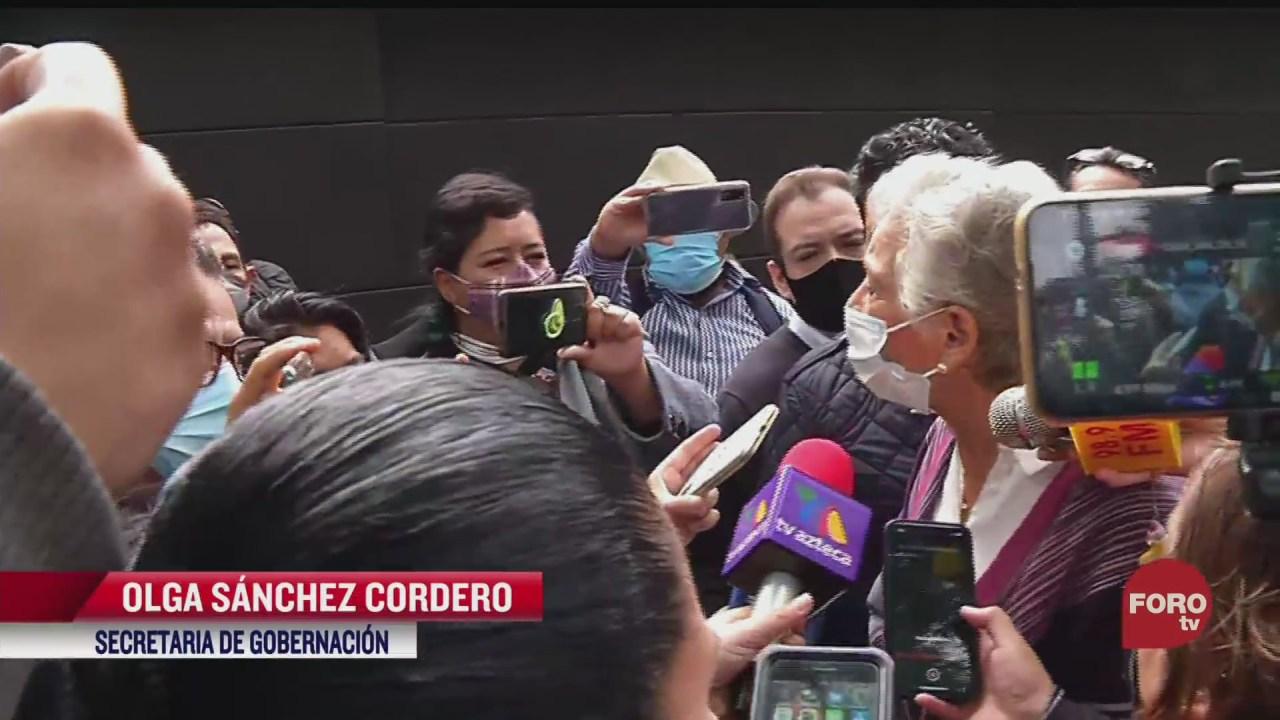 La Secretaría de Gobernación, Olga Sánchez Cordero, afirmó que se registran 'filas enormes en las casillas', tras votar ejercer su voto