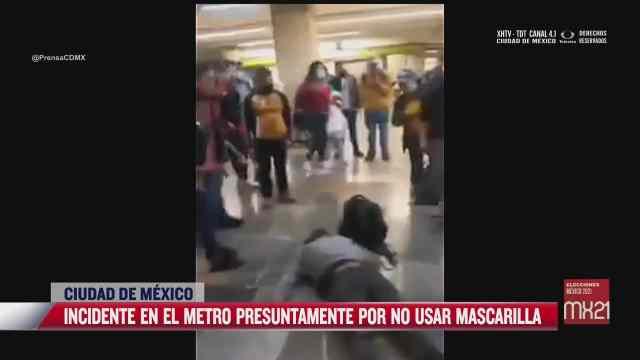 policia noquea a hombre por no usar cubrebocas en el metro