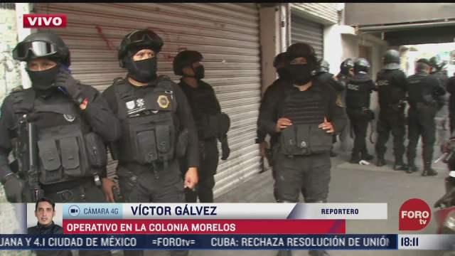 realizan operativo policiaco en la colonia morelos cdmx