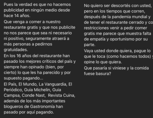 Influencer quería comer gratis en restaurante, respuesta de los dueños se vuelve viral