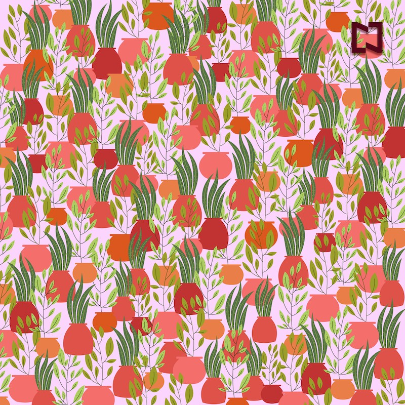 Encuentra dos macetas sin plantas, ilustración