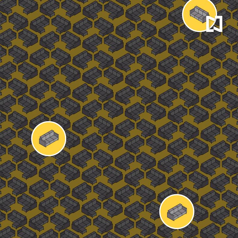 Encuentra los sofás que no tienen forma de L, ilustración