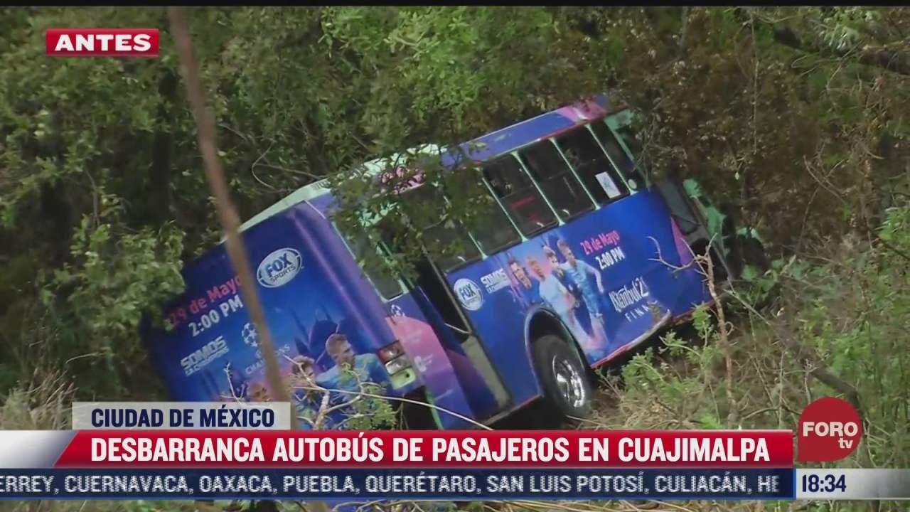 se desbarranca autobus de pasajeros en cuajimalpa
