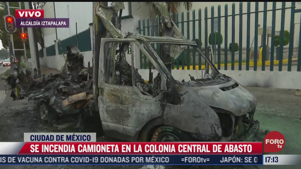 se incendia camioneta en la colonia central de abasto no hay lesionados