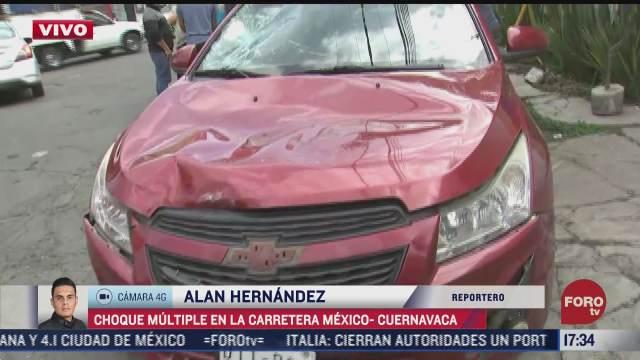 se registra choque multiple en carretera mexico cuernavaca