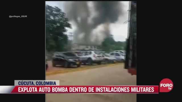 se registra fuerte explosion de auto bomba en colombia
