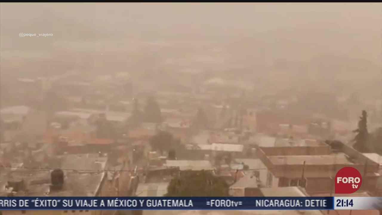 se registra fuerte granizada en atizapan en el estado de mexico