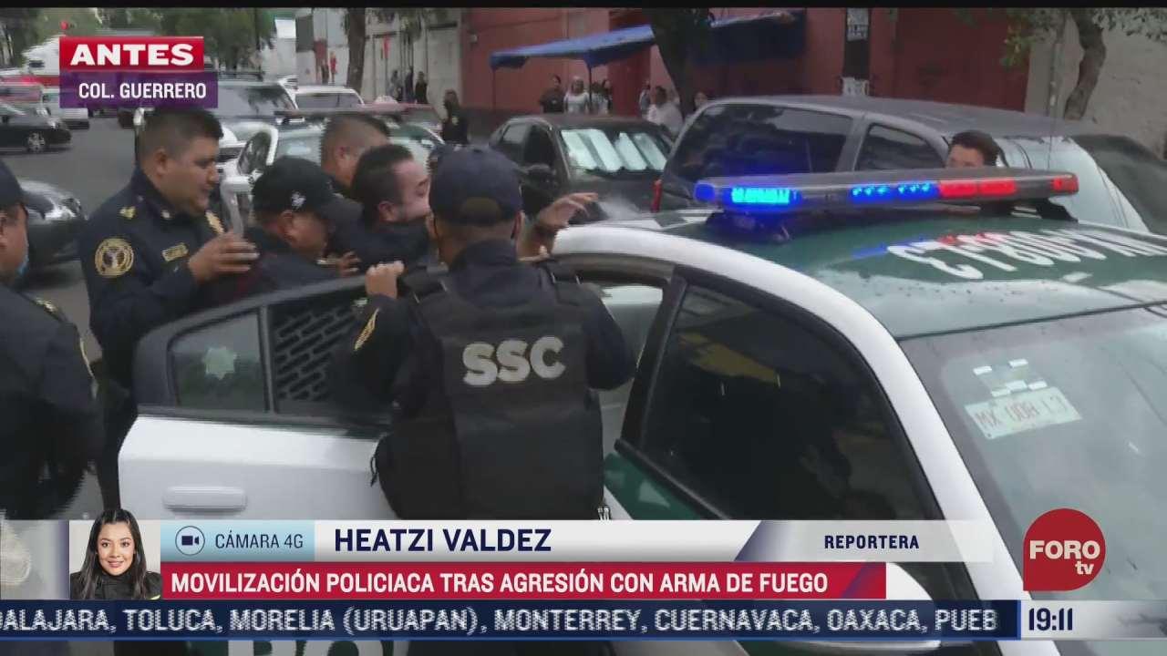 se registra intensa movilizacion policiaca tras agresion con arma de fuego en la colonia guerrero