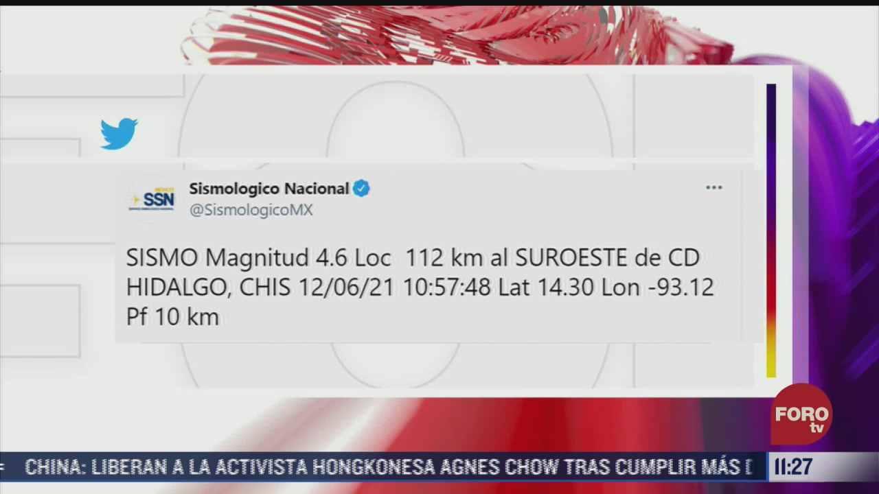 se registra sismo de magnitud 4 6 en ciudad hidalgo chiapas