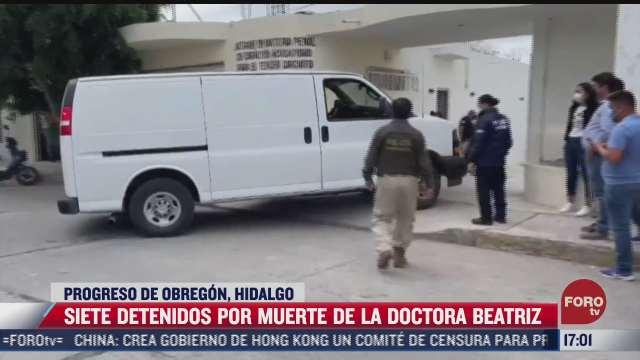 siete detenidos por muerte de doctora en hidalgo