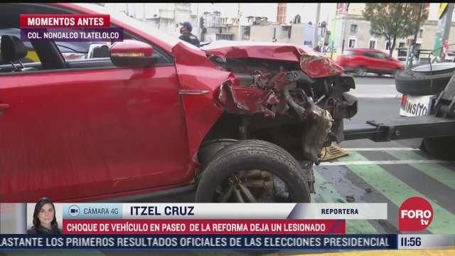 vehiculo choca contra senalamiento en la colonia nonoalco tlatelolco