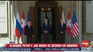vladimir putin y joe biden se saludan antes de entrar a su reunion en ginebra