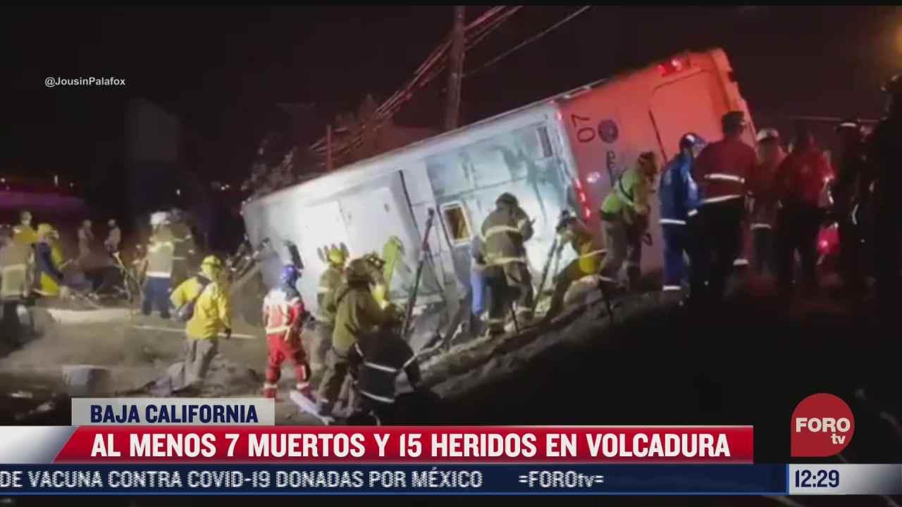 volcadura de autobus deja al menos siete muertos en baja california