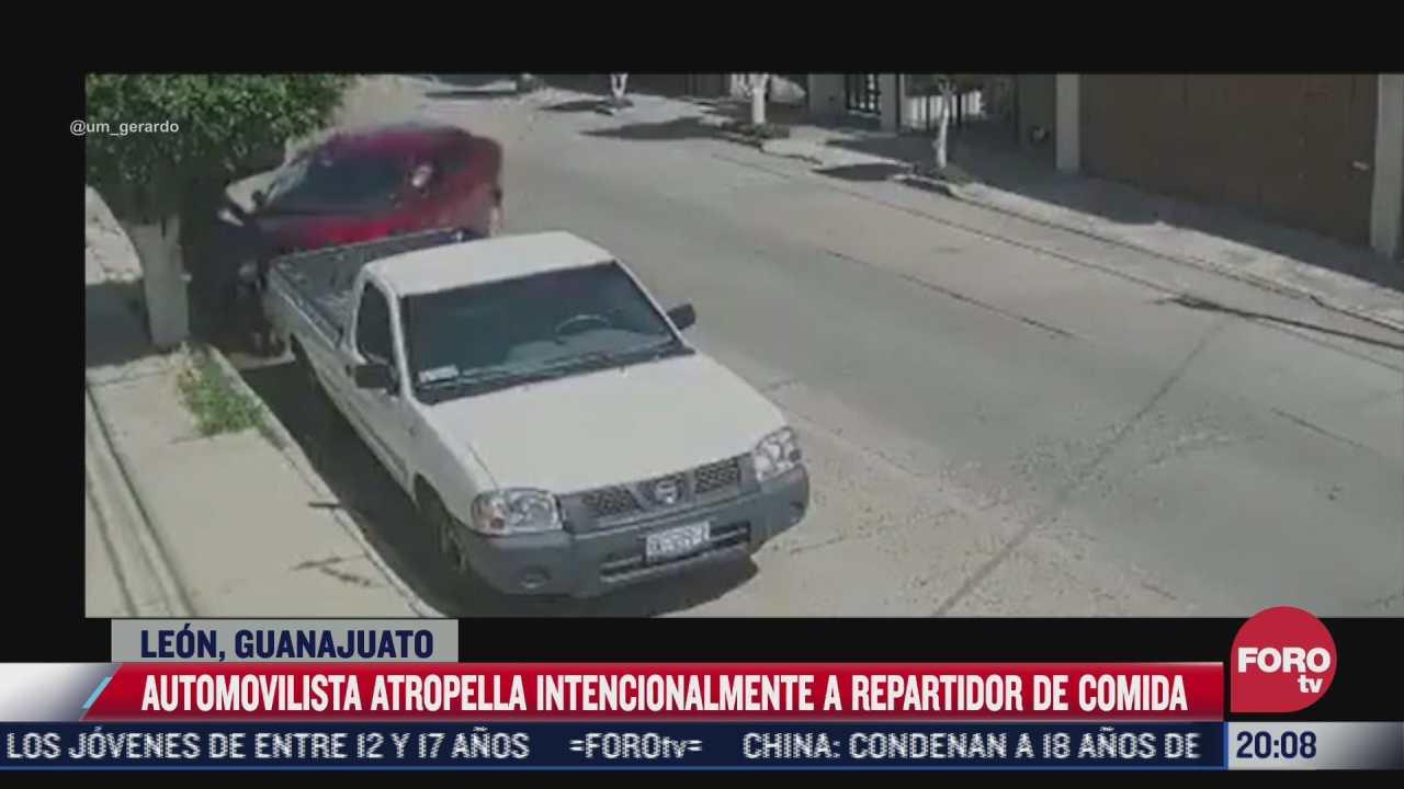 automovilista atropella intencionalmente a repartidor en leon guanajuato