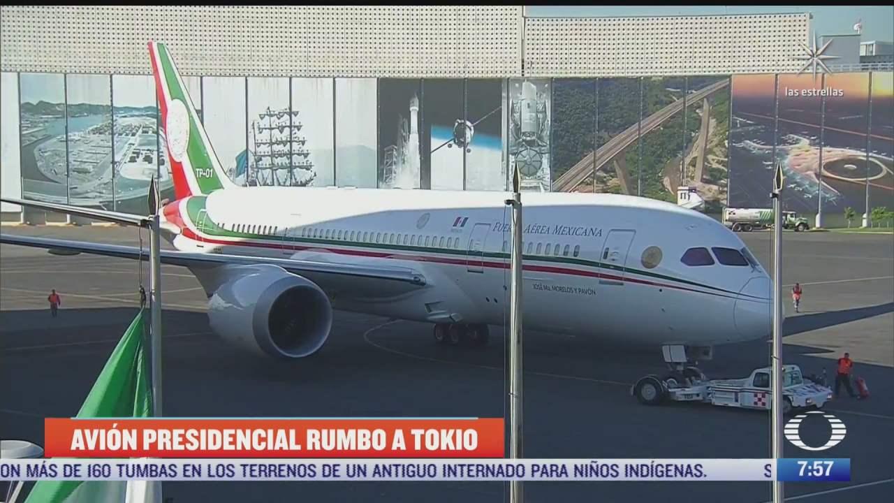 avion presidencial viaja a tokio con materiales de la delegacion olimpica
