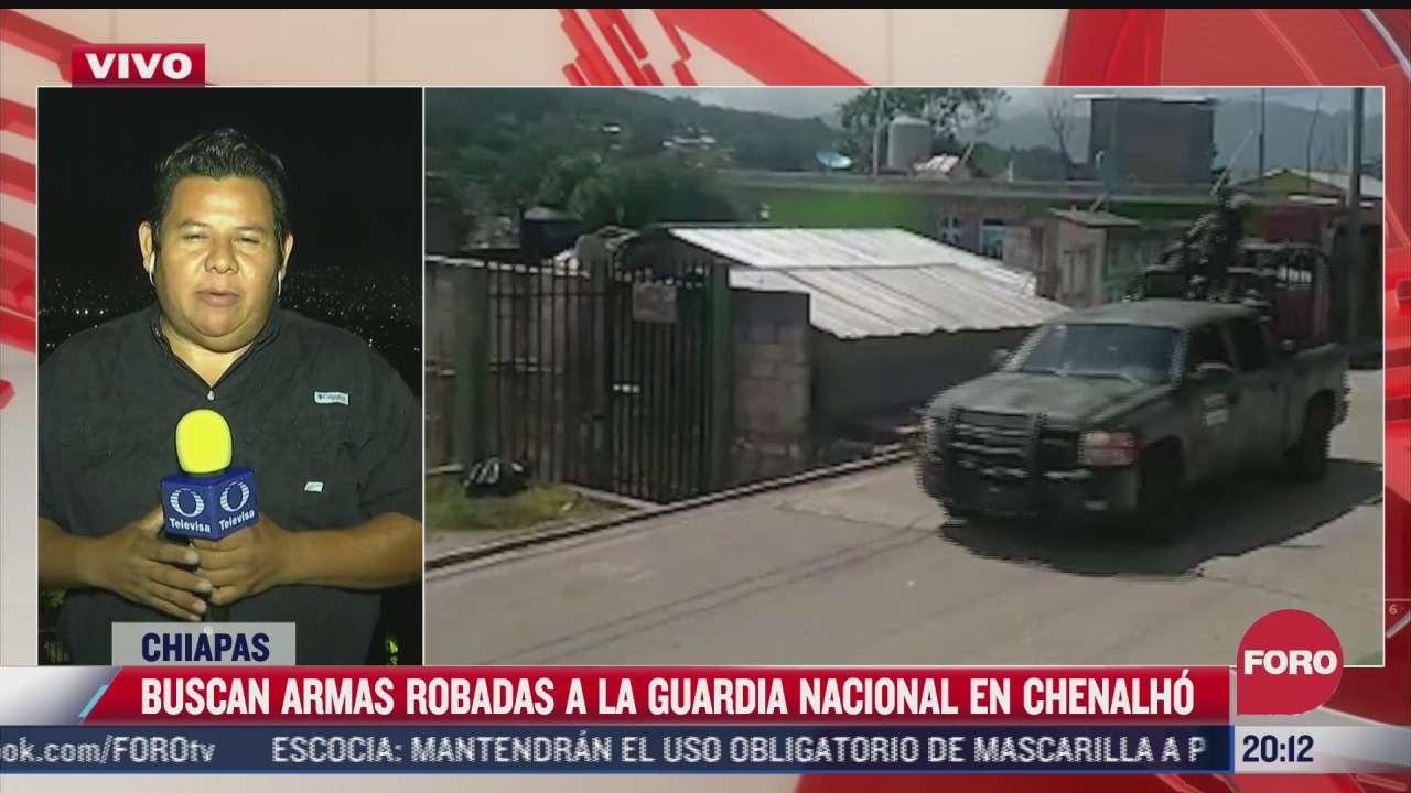 buscan armas robadas a la guardia nacional en chenalho