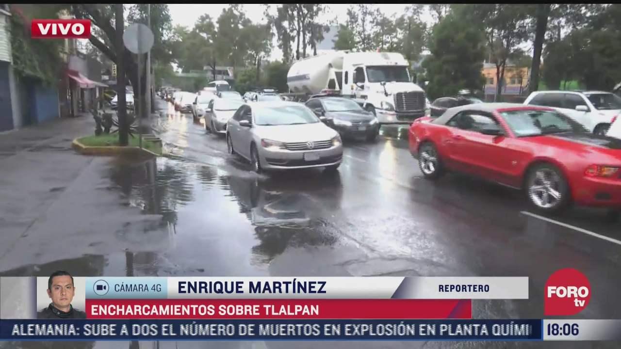 calzada de tlalpan registra transito lento por las lluvias