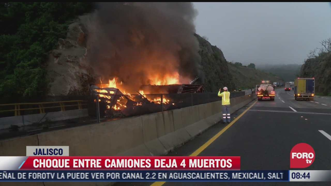 choque entre dos camiones de carga deja 4 fallecidos en jalisco