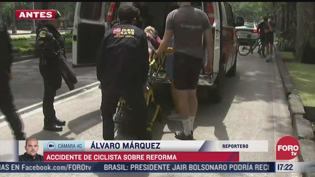 ciclista se accidenta en paseo de la reforma