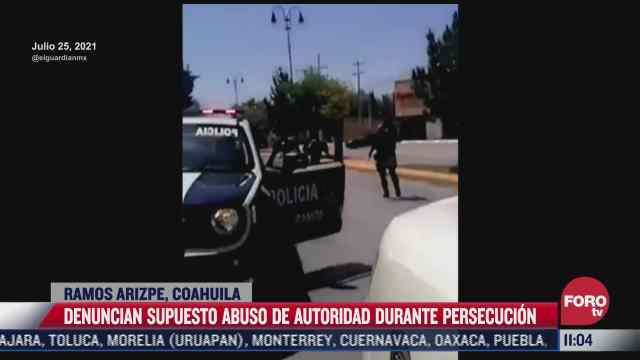 denuncian supuesto abuso policial durante persecucion en ramos arizpe coahuila
