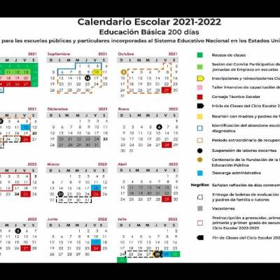 Calendario escolar 2021-2022 para descargar e imprimir