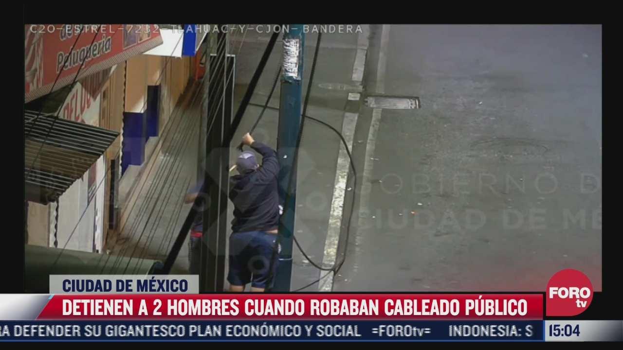 detienen a dos hombres tras intentar robo de cableado publico en la cdmx