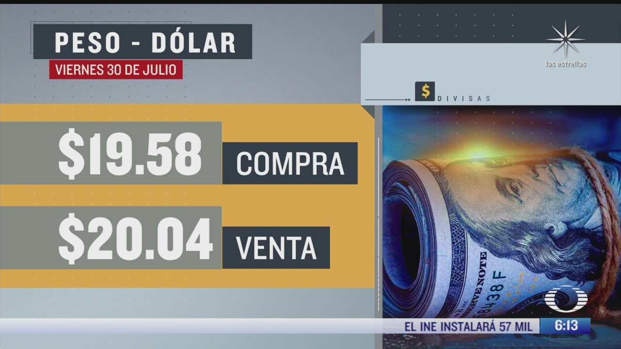 el dolar se vendio en 20 04 en la cdmx del 30 julio