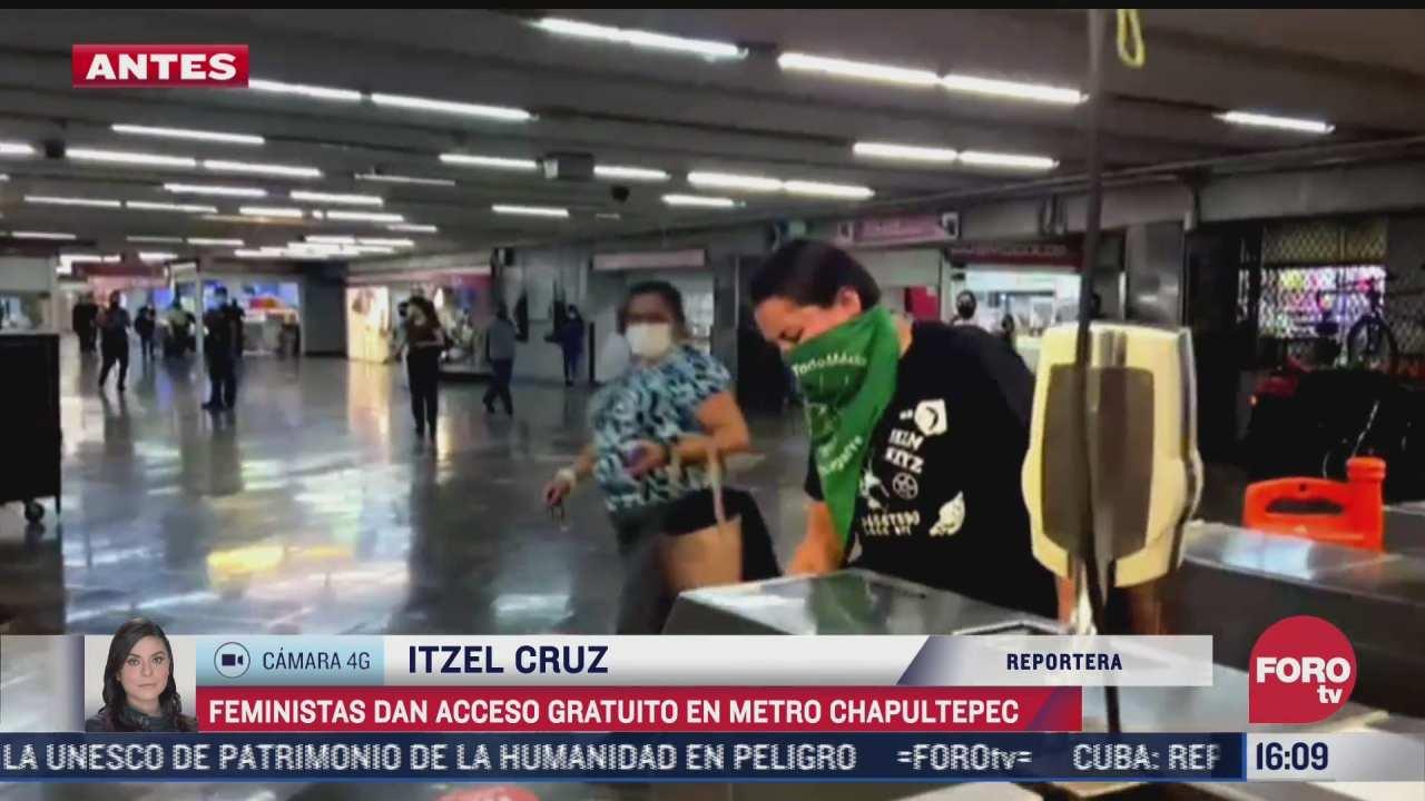 feministas dan acceso gratuito al metro en chapultepec