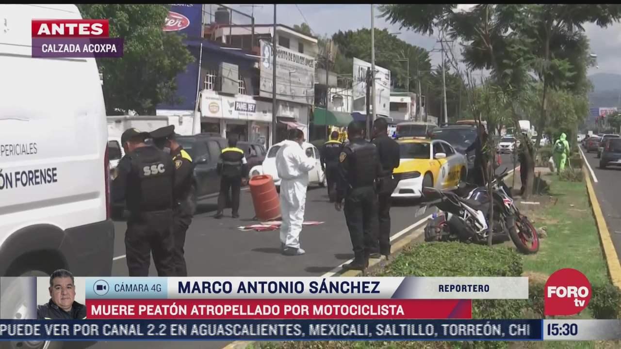 muere peaton tras ser atropellado por motociclista en calzada acoxpa