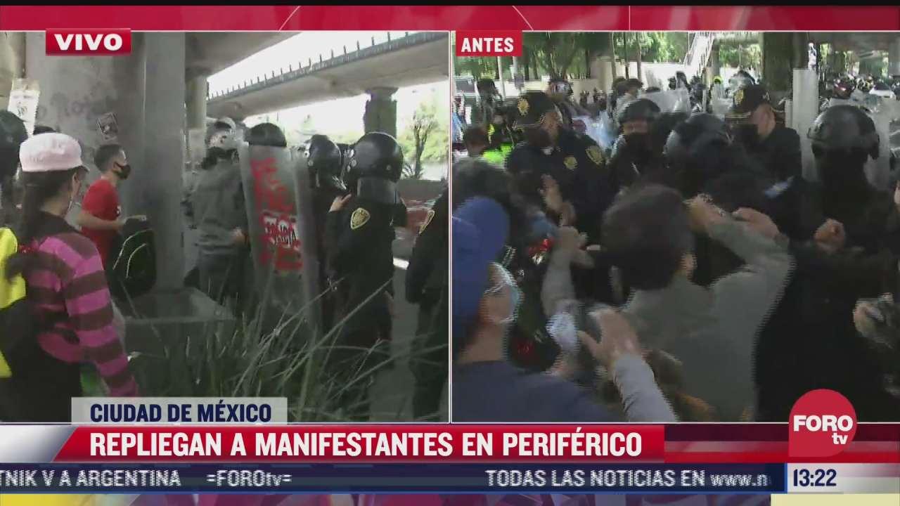 policias capitalinos retiran a manifestantes de periferico cdmx