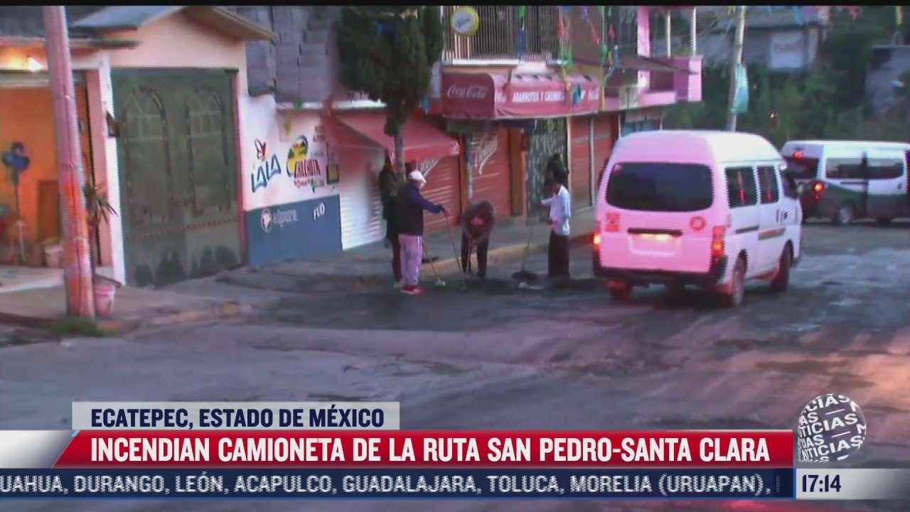 prenden fuego a camioneta del transporte publico en ecatepec por supuesta extorsion