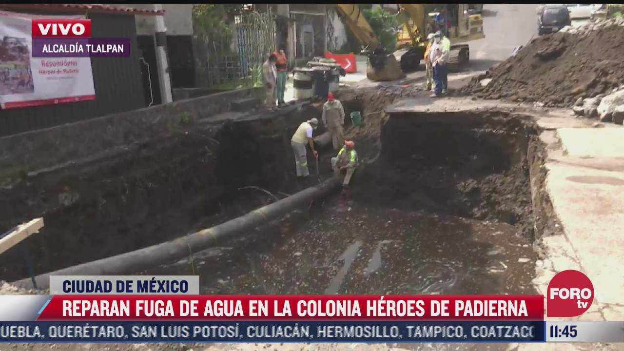 reparan fuga de agua en la colonia heroes de padierna cdmx