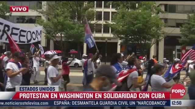 se manifiestan en washington eeuu en apoyo a comunidad cubana