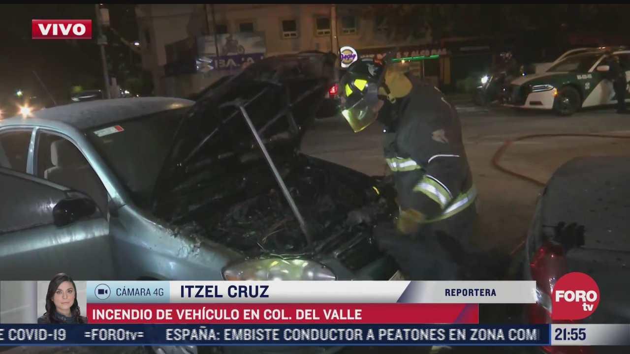 se registra incendio de vehiculo en la colonia del valle cdmx