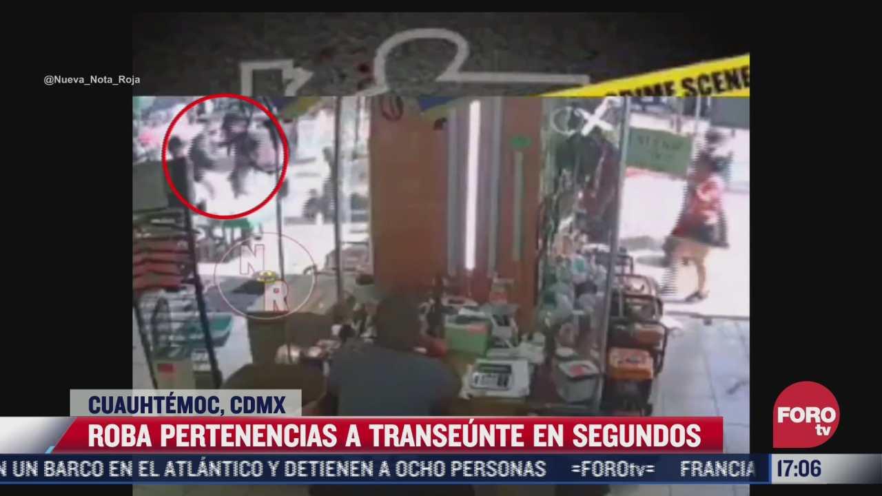video sujeto roba pertenencias a transeunte en centro historico de la cdmx